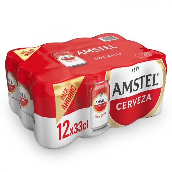 Cerveza Amstel 100% malta pack de 12 latas de 33 cl.