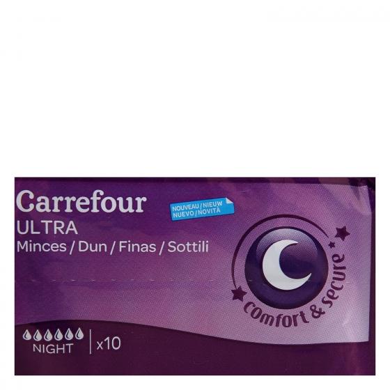 Compresas ultra con alas Noche Carrefour 10 ud. - 5