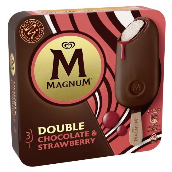 Bombón helado double con chocolate y salsa de fresa Magnum 3 ud. - 3