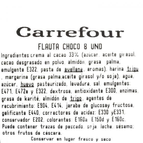 Flautas con crema de cacao Carrefour 8 ud - 1