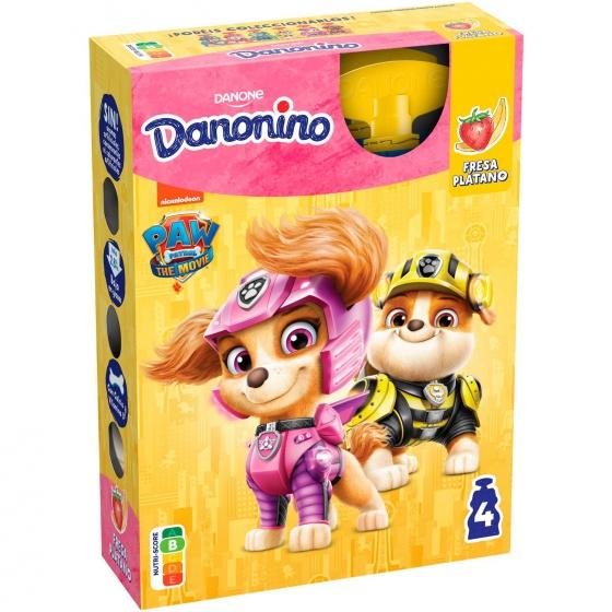 Yogur líquido de fresa y plátano Danone Danonino en bolsitas pack de 4 unidades de 70 g.