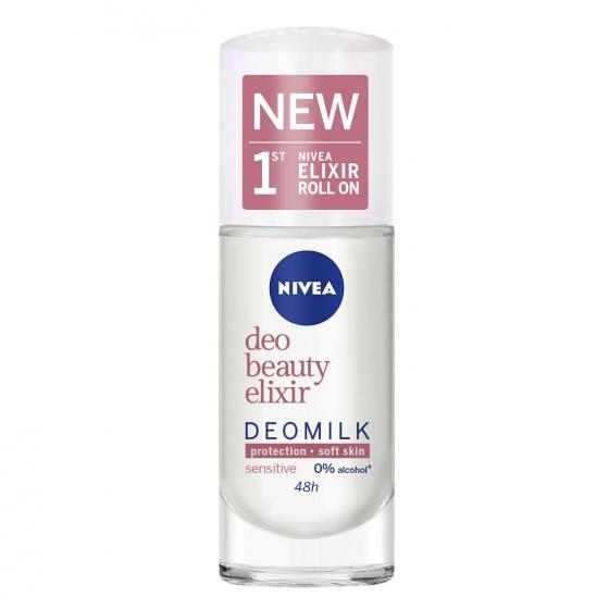 Desodorante roll-on beauty elixir deomilk Sensitive Nivea 40 ml.