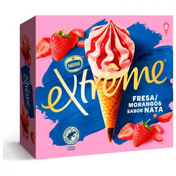 Conos con helado de fresa y nata Extreme Nestlé 6 ud.