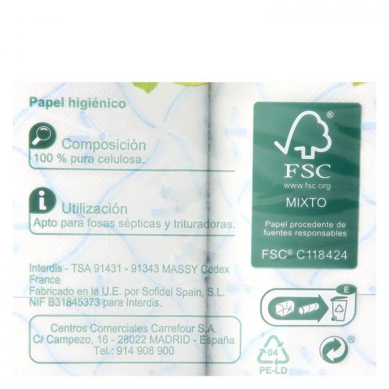 Papel higiénico 3 capas Carrefour 12 rollos. - 1