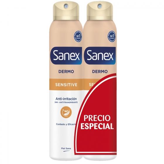 Desodorante en spray Dermo Sensitive Sanex pack de 2 unidades de 200 ml. - 1