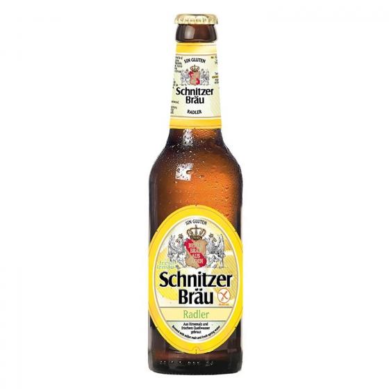 Cerveza Schnitzer Braü Radler con limón sin gluten botella 33 cl.