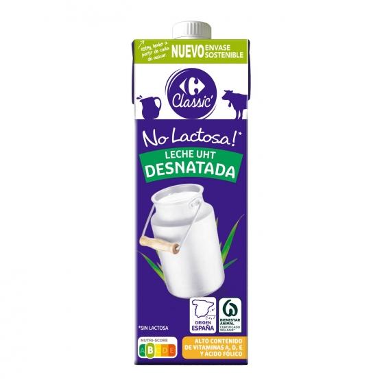 Leche desnatada Carrefour sin lactosa brik 1 l.