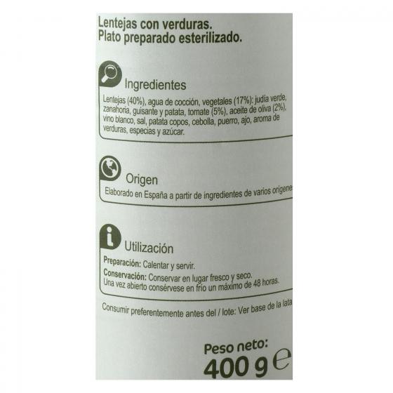 Lentejas con verduras con aceite de oliva Carrefour 400 g. - 3