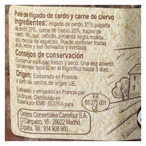 Paté de ciervo Carrefour 180 g. - 3