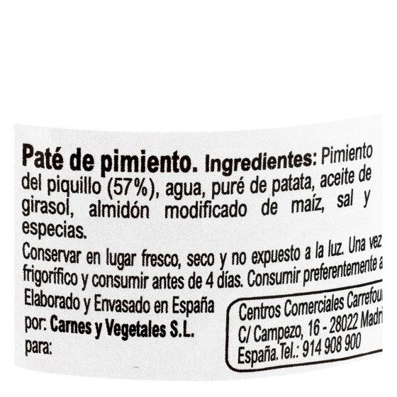 Paté de pimiento del piquillo Carrefour sin gluten y sin lactosa 120 g. - 1