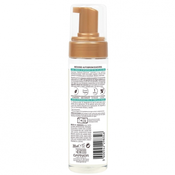 Mousse autobronceadora agua de coco hidratante innovación natural bronzer Ganier Delial 200 ml. - 1
