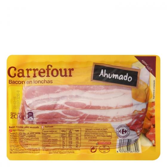 Bacon en lonchas Carrefour sin gluten 200 g.