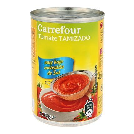 Tomate tamizado contenido bajo de sal Carrefour 400 g.