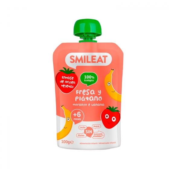 Preparado de fresa y plátano desde 4 meses sin azúcar añadido ecológico Smileat sin gluten bolsita de 100 g.