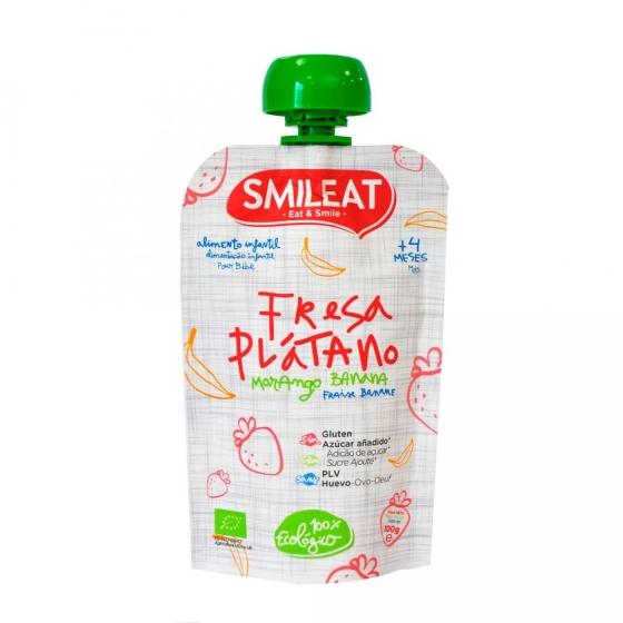 Preparado de fresa y plátano desde 4 meses sin azúcar añadido ecológico Smileat sin gluten bolsita de 100 g. - 3