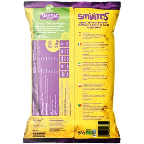 Aperitivo de maiz desde 18 meses ecológicos Smileat Smilitos sin gluten 38 g. - 1