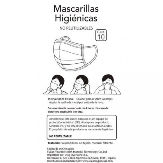 Mascarilla higiénica pack de 10 unidades (no reutilizable) - 1
