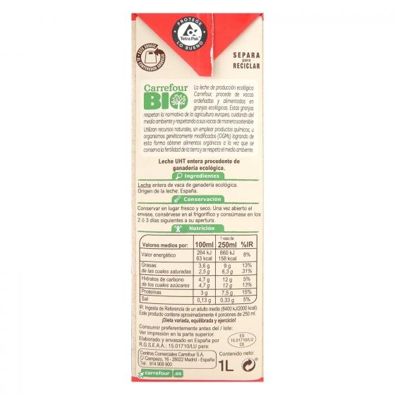 Leche entera ecológica Carrefour Bio brik 1 l. - 1