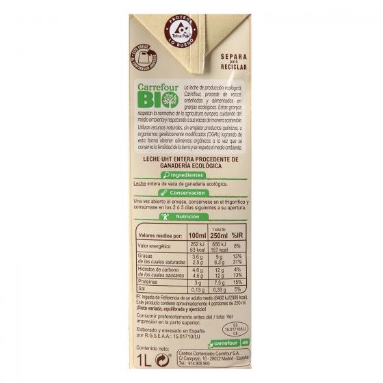 Leche entera ecológica Carrefour Bio brik 1 l. - 5