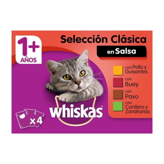Whiskas Multipack de 4 Bolsitas para Gatos Adultos Selección de Carnes 100gr