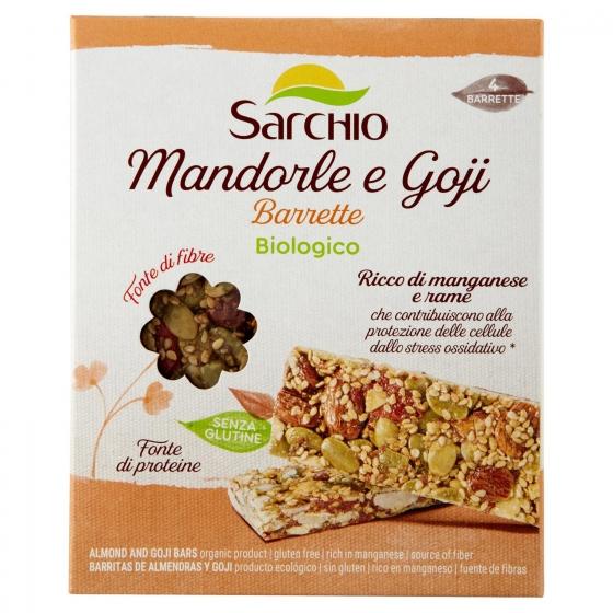 Barritas de almendras y goji ecológicas Sarchio sin gluten 4 unidades de 20 g.