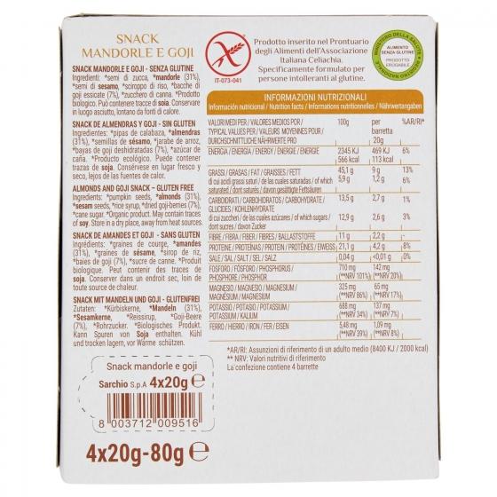 Barritas de almendras y goji ecológicas Sarchio sin gluten 4 unidades de 20 g. - 1