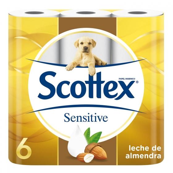 Papel higiénico con leche de almendras Sensitive Scottex 6 rollos.