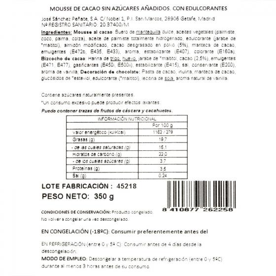 Mousse chocolate sin azúcar añadido 350 g - 3