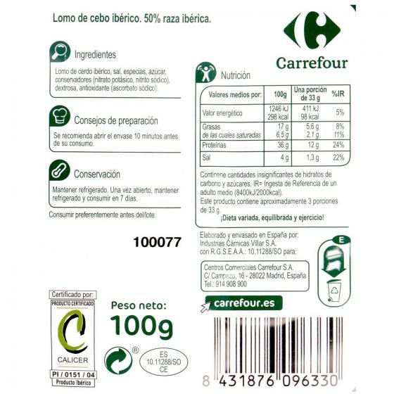 Lomo Ibérico en lonchas Carrefour sin gluten 100 g. - 1