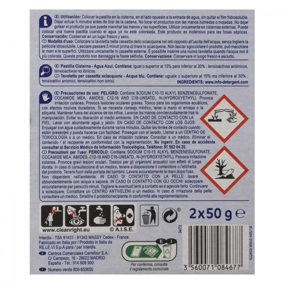Desodorizante cisterna en pastilla agua Azul Carrefour 2 ud. - 1