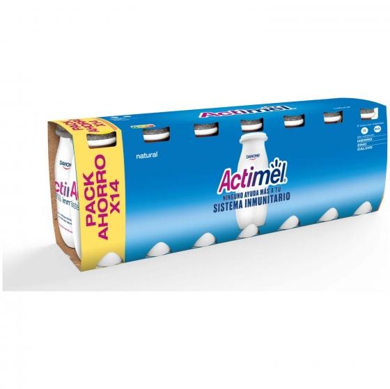 Yogur L.Casei líquido natural Danone Actimel pack de 14 unidades de 100 g.