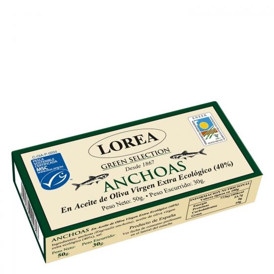 Anchoas en aceite de oliva virgen extra ecológico Lorea 30 g.