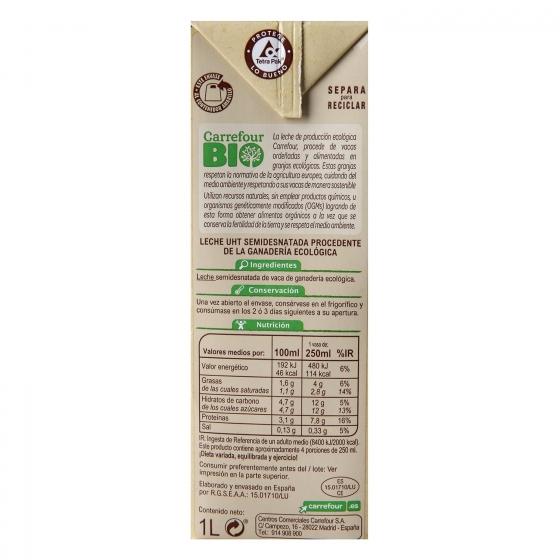 Leche semidesnatada ecológica Carrefour Bio brik 1 l. - 5