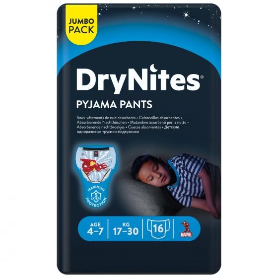 Ropa interior absorbente niño noche DryNites 4-7 años (17kg-30 kg.) 16 ud. - 1