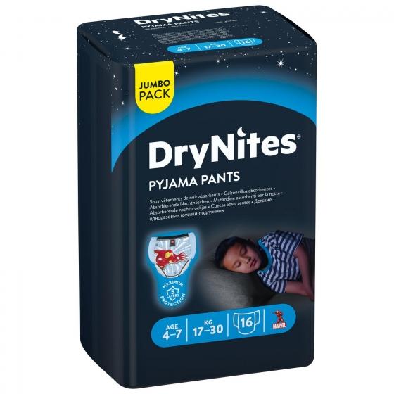 Ropa interior absorbente niño noche DryNites 4-7 años (17kg-30 kg.) 16 ud. - 3