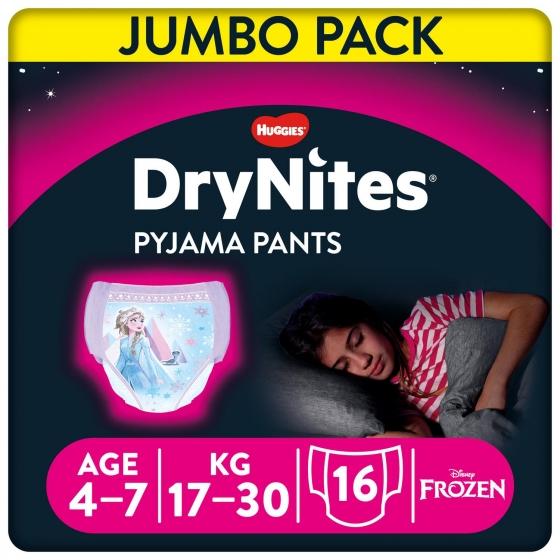 Ropa interior absorbente niña noche DryNites 4-7 años (17kg-30 kg.) 16 ud. - 1