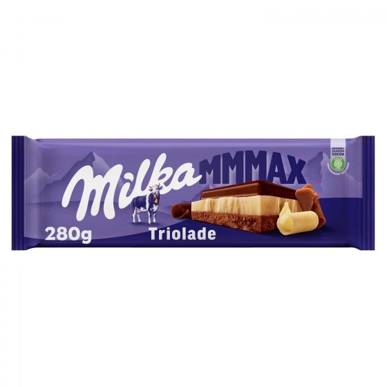 Chocolate con leche y blanco triolade Milka 300 g.