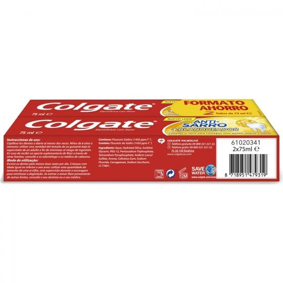 Dentífrico Anti-Sarro + Blanqueador Tubo Duplo Colgate pack de 2 unidades de 75 ml. - 4