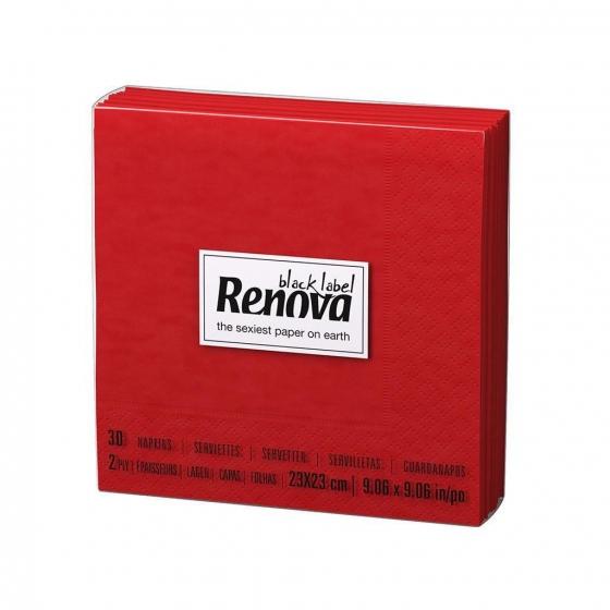Set de Servilletas  2 capas de Celulosa RENOVA Cocktail 30pz - Rojo