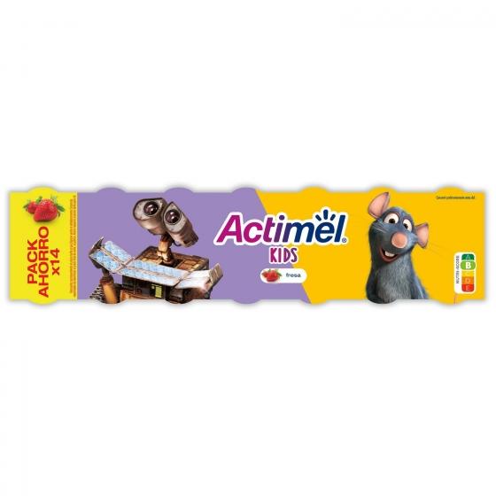 Yogur líquido L.Casei sabor fresa Danone Actimel pack de 14 unidades de 100 g. - 1