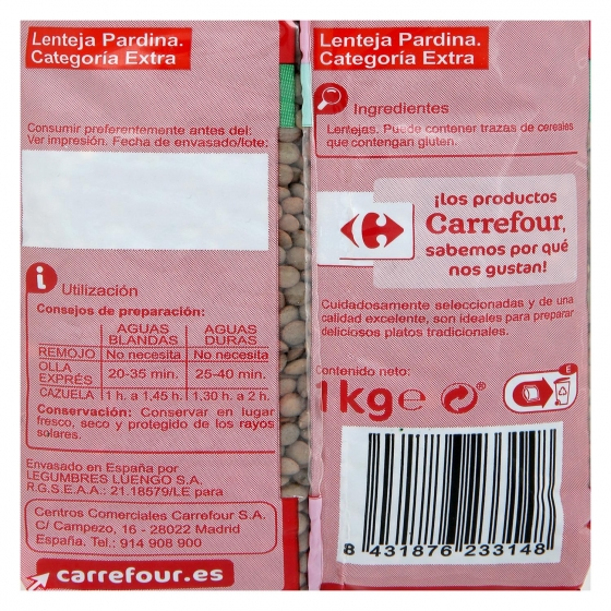Lenteja pardina categoría extra Carrefour 1 kg. - 1