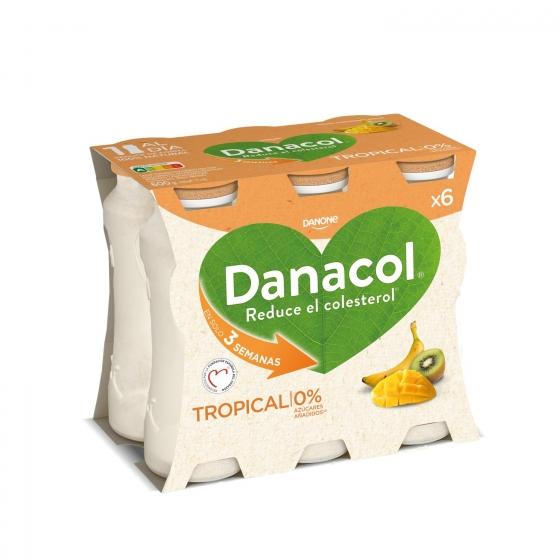 Yogur líquido tropical Danone Danacol pack de 6 unidades de 100 g.