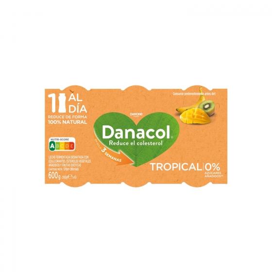 Yogur líquido tropical Danone Danacol pack de 6 unidades de 100 g. - 1