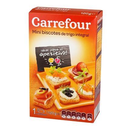 Biscottes mini integrales Carrefour 120 g.