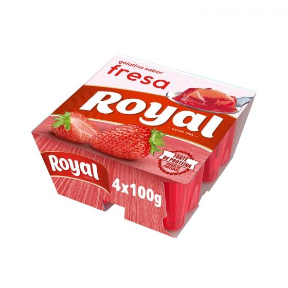 Gelatina sabor fresa Royal pack de 4 unidades de 100 g.