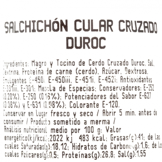 Salchichón extra cular 50% raza Duroc pieza 1/3 Dionisio Sánchez 350 g  - 1