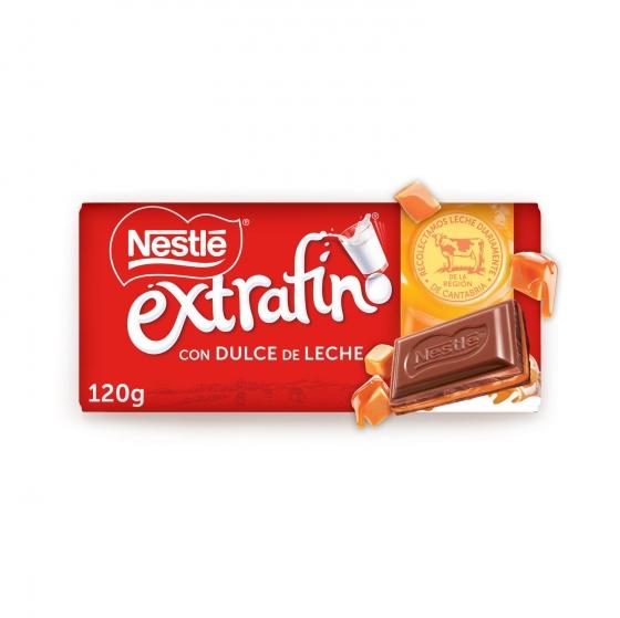 Chocolate con leche extrafino relleno de dulce de leche Nestlé 120 g.