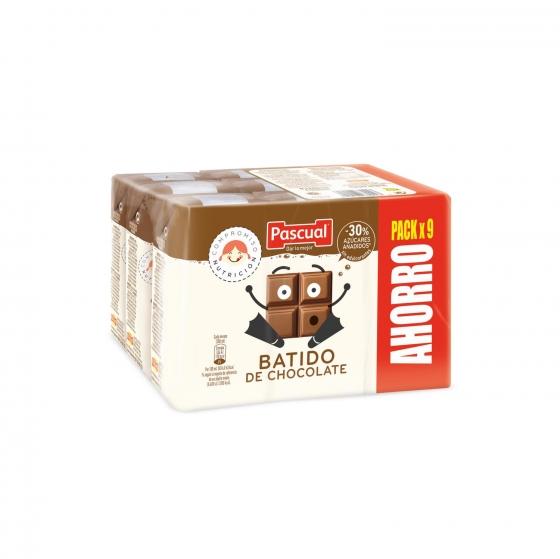 Batido de chocolate Pascual pack de 9 briks de 200 ml.