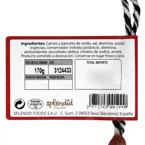 Longaniza extra reserva pieza Exentis 280 g - 3
