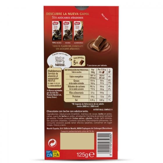 Chocolate con leche sin azúcar añadido Nestlé sin gluten 125 g. - 1